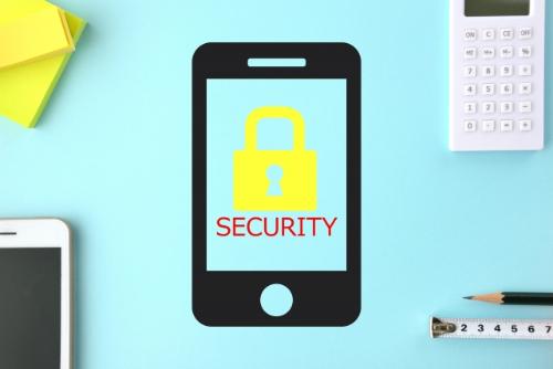 セキュリティーされているスマートフォンのイメージ画像